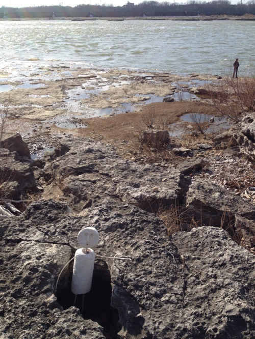 Figure in a hole on the fossil cliffs, Falls of the Ohio, Nov. 2014