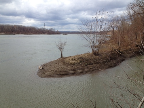 storm sewer overflow peninsula, Falls of the Ohio, Dec. 2014