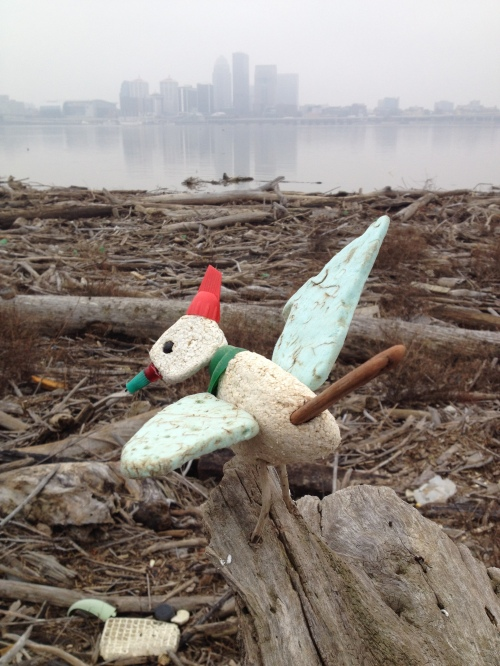 The Christmas Bird, Louisville in the background, Dec. 2014