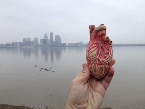 Found Plastic Heart, Falls of the Ohio across from Louisville, Jan. 2015
