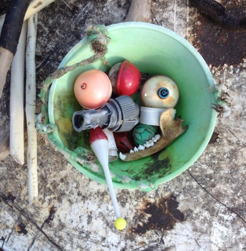 """Plastic bowl with potential """"facial features"""", Falls of the Ohio, Jan. 2015"""