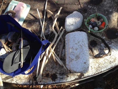 Materials for a figure, Falls of the Ohio, Jan. 2015
