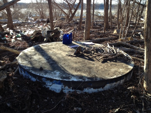 Circular platform at my outdoor studio, Falls of the Ohio, Jan. 2015