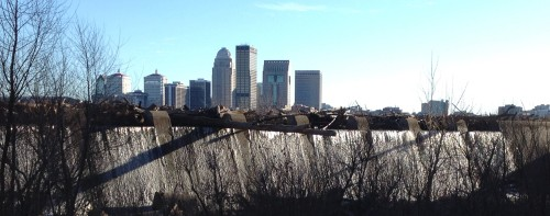 Skyline of Louisville from the Falls of the Ohio, Jan. 2015