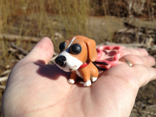 Sad-eyed puppy plastic keychain, Jan. 2015