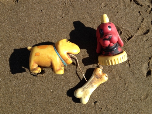 "Two ""Clifford the Big Red Dog"" plastic items, Jan. 2015"