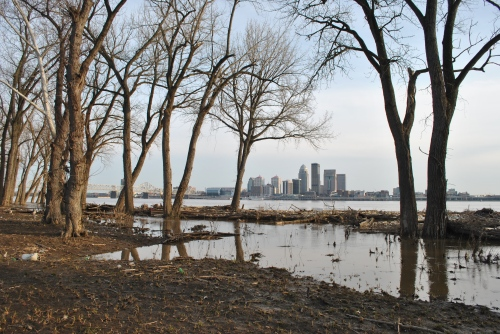 Louisville as seen from the muddy Falls of the Ohio, March 2015