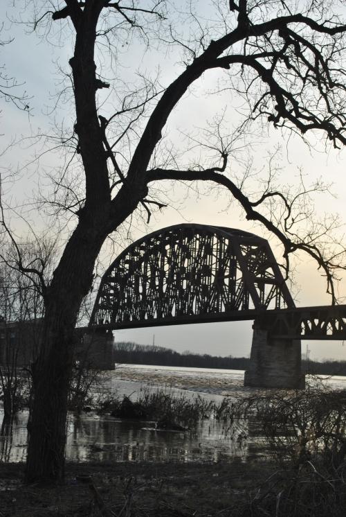 Railroad bridge at the Falls of the Ohio, March 2015