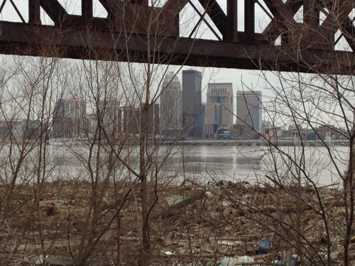View of Louisville as seen from under the railroad bridge at the Falls of the Ohio, March 9, 2015