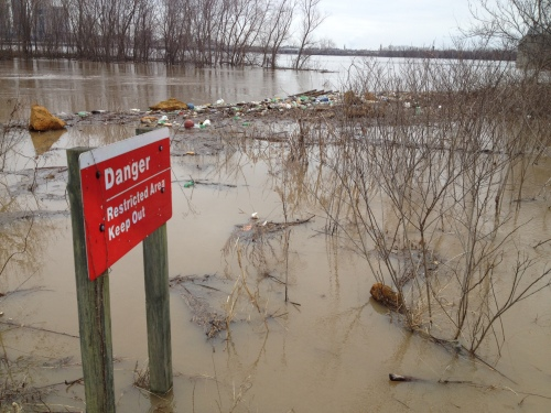 Danger sign at the flooded Falls of the Ohio, March 9, 2015