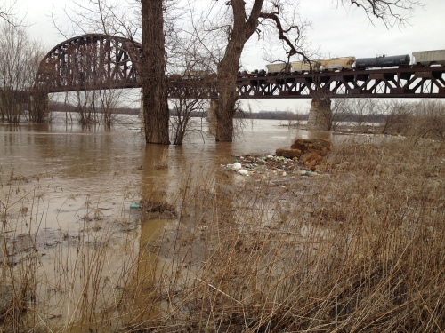 Train crossing over the railroad bridge during flooding at the Falls of the Ohio, March 9, 2015