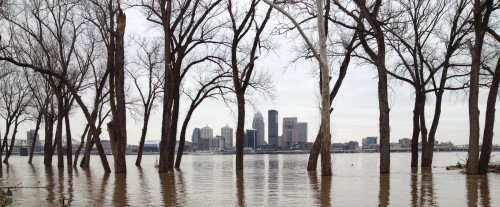 City of Louisville skyline as seen from flooded bank of Ohio River in Clarksville, IN, March 9, 2015