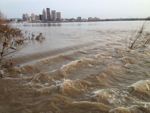 City of Louisville, KY as seen across flooded Ohio River, March 2015