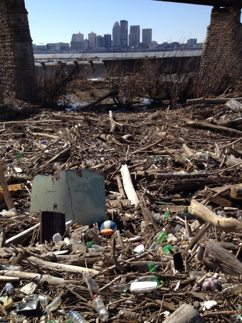 Junk under the bridge at the Falls of the Ohio, March 2015