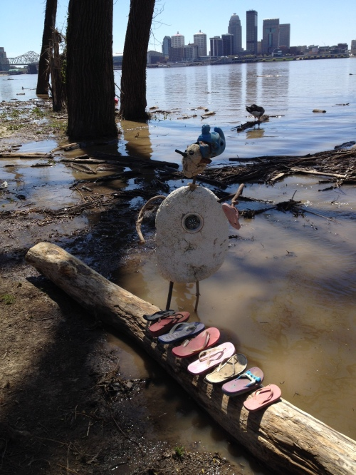 Shoe Shaman with his altar, Falls of the Ohio, April 2015