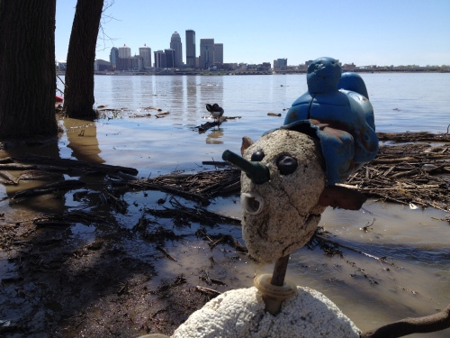 Shoe Shaman of the Big Blue Nation with the skyline of Louisville across the river, April 2015