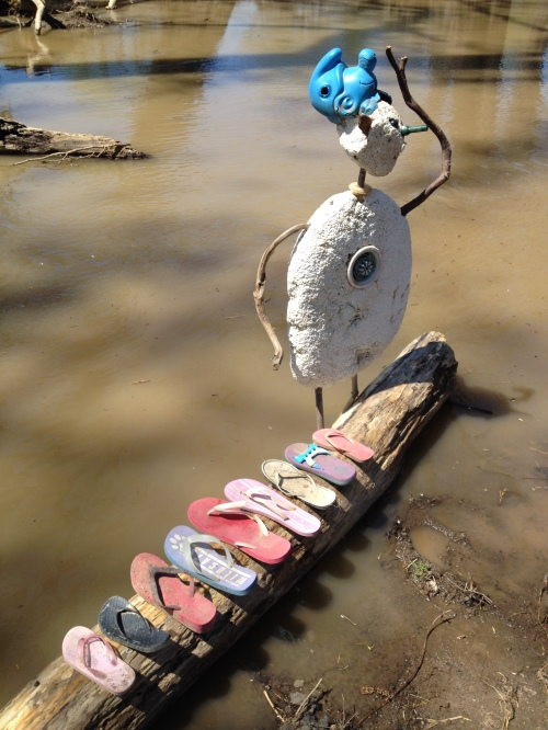 Shoe Shaman of the Big Blue Nation and altar, Falls of the Ohio, April 2015