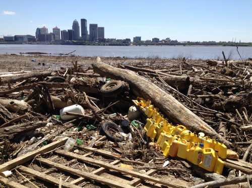 """Yellow Concentrate"" with the City of Louisville across the river. April 2015"