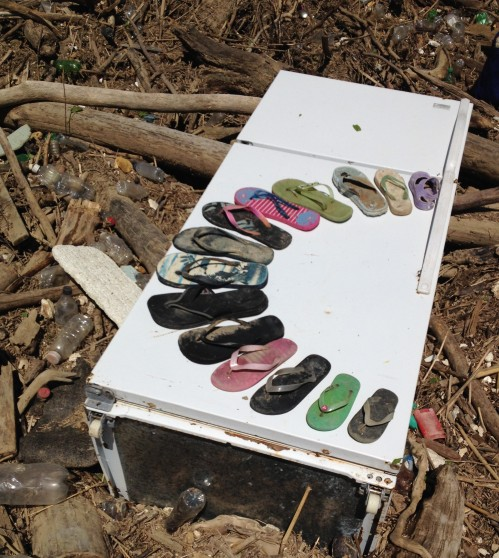 Sandal Arc, found objects from the Falls of the Ohio, April 2015