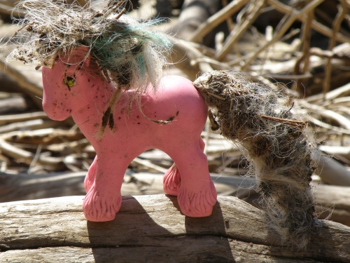 Pink Plastic  Horse with flowing tail and mane, Falls of the Ohio