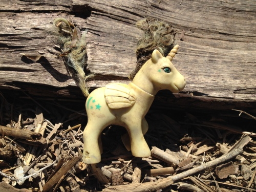 Plastic Pegasus/Unicorn toy, Falls of the Ohio, 2015