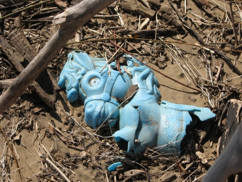 Blue plastic fragment of a horse riding toy, Falls of the Ohio