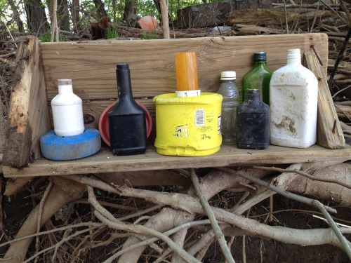 Shelf with Colorful Objects, found objects, Falls of the Ohio, May 2015