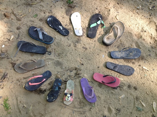 Family Circle, found flip-flops, Falls of the Ohio, May 2015
