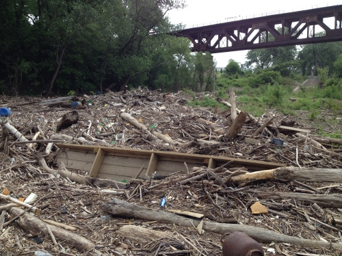Destroyed boat dock on the driftwood pile, Falls of the Ohio, May 2015