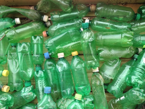 detail of green plastic bottles, Falls of the Ohio, May 2015