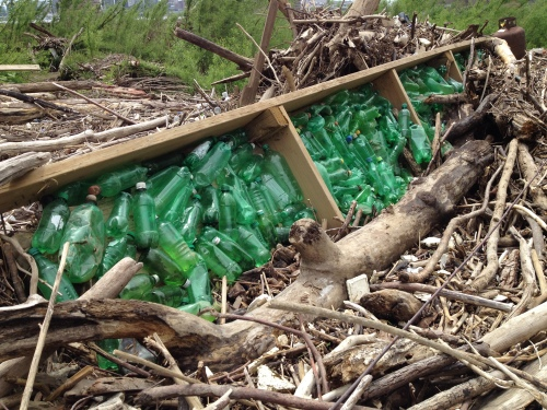 Green plastic bottles in ruined boat dock, Falls of the Ohio, May 2015
