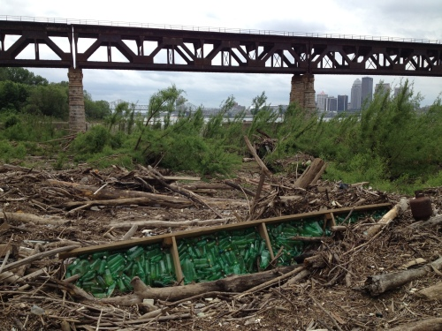 Green plastic bottles piece, Falls of the Ohio, May 2015