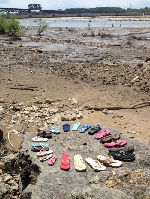 Flip flops on the fossil rocks, Falls of the Ohio, June 2015