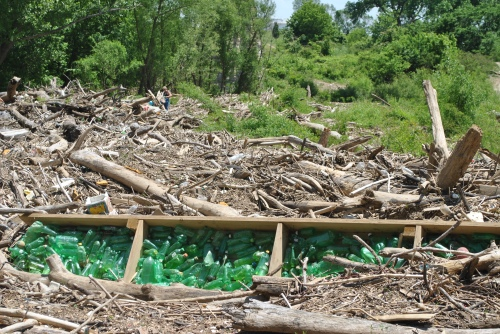 Green plastic bottle assemblage, Falls of the Ohio, May 2015