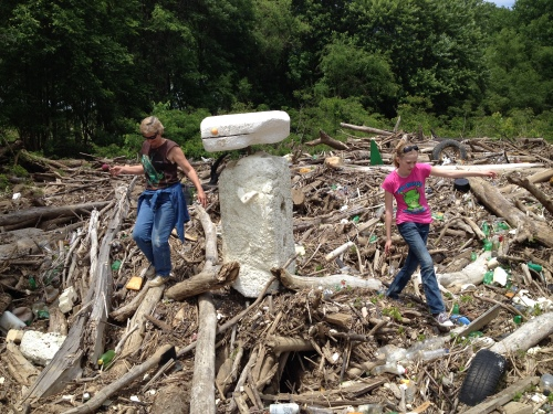 Marjie and Anika make a Styrofoam sculpture, Falls of the Ohio, May 2015