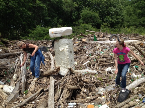 Marjie and Anika and their Styrofoam creation, Falls of the Ohio, May 2015
