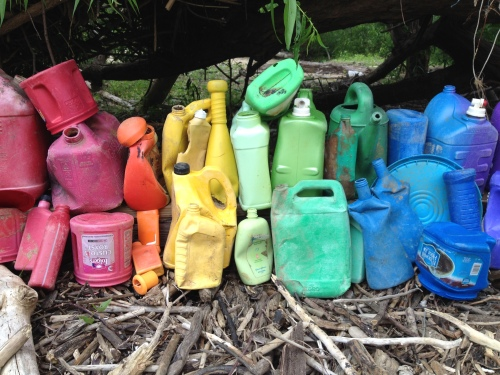 Colorful castoff plastic containers, Falls of the Ohio, June 2015