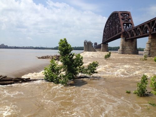 High water by the Upper Tainter Gates, Falls of the Ohio, July 2015