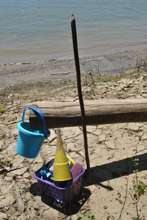 My walking stick and found plastic items, early August, 2015, Falls of the Ohio