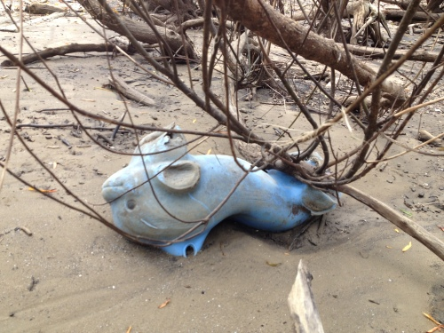 Broken, blue plastic dolphin riding toy, late July 2015, Falls of the Ohio