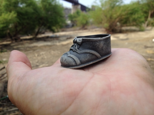 River patinated, plastic doll shoe, late July 2015, Falls of the Ohio