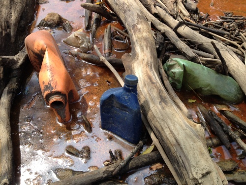Plastic jugs in a mud puddle, Late July 2015, Falls of the Ohio