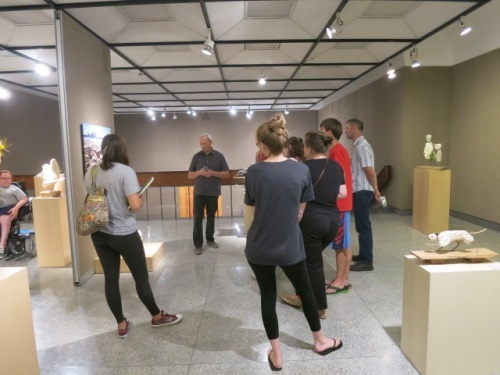 Al with students (1), Giles Gallery, E.K.U., Sept. 24, 2015, photo by Esther Randall