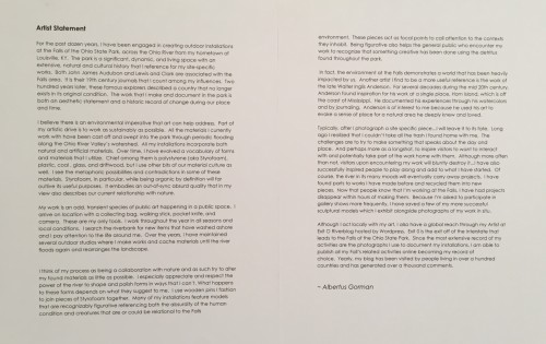 Artist's Statement, Giles Gallery, E.K.U., September 2015