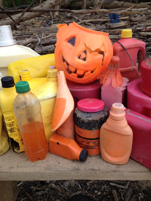 Orange plastic jack-o-lantern with other river found objects, Falls of the Ohio, 2015