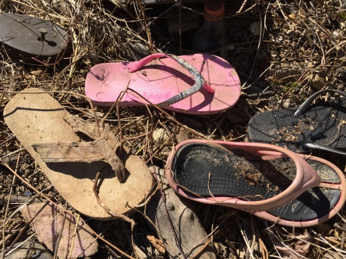 found flip-flops, Falls of the Ohio, Oct. 2015