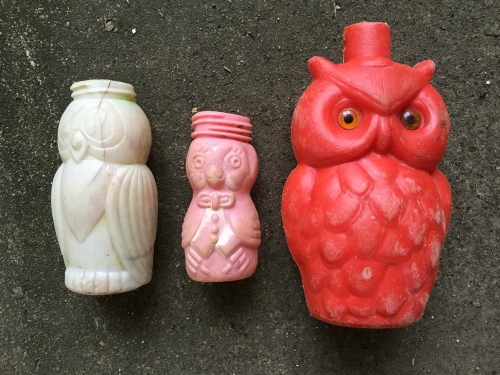 Three different plastic owl bottles, Falls of the Ohio, 2015