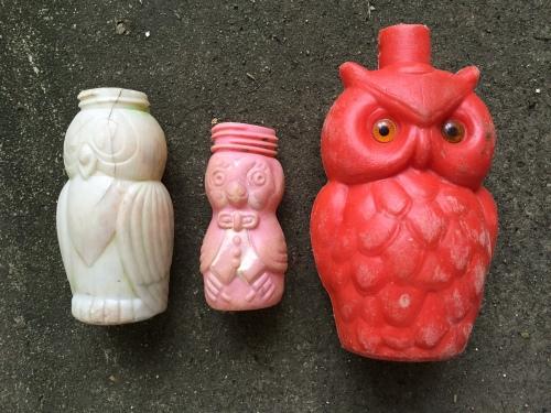 Three different plastic owl bottles, Falls of the Ohio, 2015