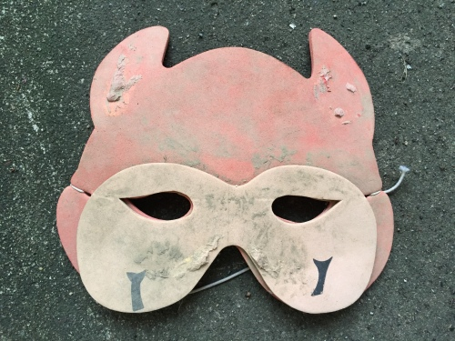 Foam devil mask, Falls of the Ohio, 2015