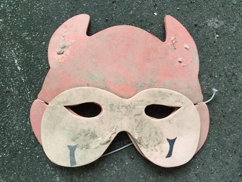 Foam devil mask, Falls of the Ohio, 2015